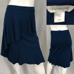Sz XS Garnet Hill Blue Stretch Tiered Ruffle Skirt